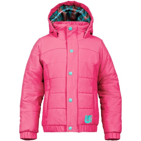 Burton Cascade Puffy Snowboard Jacket - Waterproof, Insulated (For Girls) in Hot Streak