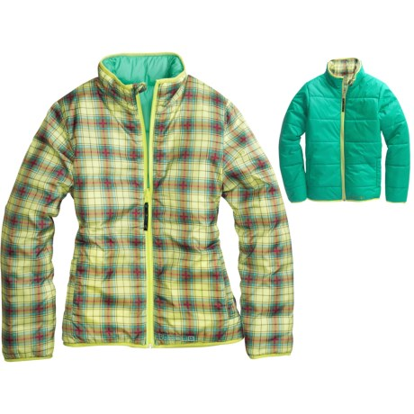 Burton Clone Insulator Jacket - Reversible (For Girls) in Sunny Lime Punkster Plaid