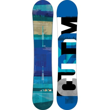 Burton Custom Flying V Snowboard - Wide in 158W Graphic/Turquoise Bottom
