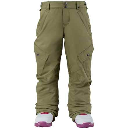 Burton Elite Cargo Snowboard Pants - Waterproof, Insulated (For Little and Big Girls) in Algae - Closeouts