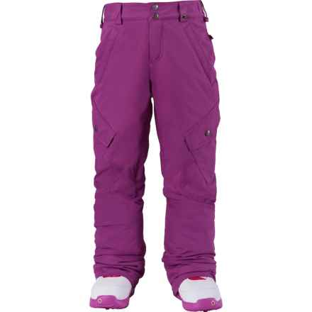 Burton Elite Cargo Snowboard Pants - Waterproof, Insulated (For Little and Big Girls) in Grapeseed - Closeouts