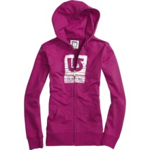 Burton Her Logo Fill Palette Stripes Hoodie Sweatshirt - Fleece, Full Zip (For Women) in Tart - Closeouts