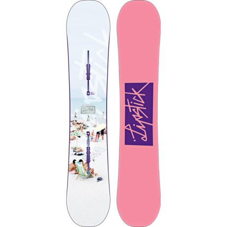 Burton Lip-Stick Snowboard (For Women) in 145 White Beach/Pink W/Purple Logo Bottom