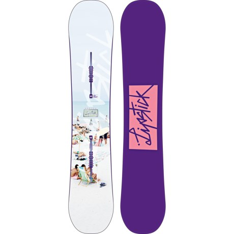 Burton Lip-Stick Snowboard (For Women) in 145 White Beach/Purple W/Pink Logo Bottom