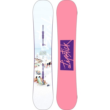 Burton Lip-Stick Snowboard (For Women) in 152 White Beach/Pink W/Purple Logo
