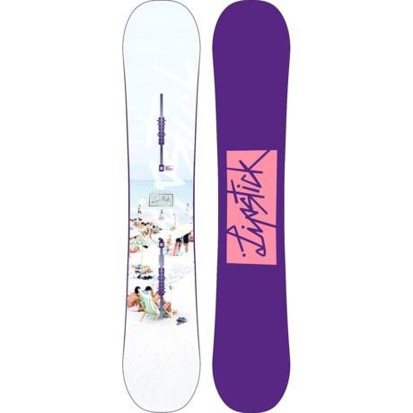 Burton Lip-Stick Snowboard (For Women) in 152 White Beach/Purple W/Pink Logo
