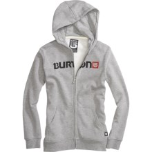 Burton Logo Horizontal Hoodie Sweatshirt - Full Zip (For Boys) in Heather Grey - Closeouts