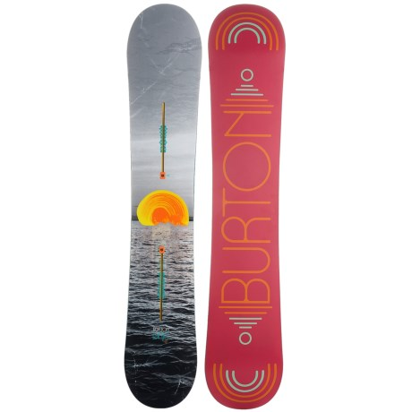 Burton Lyric Snowboard (For Women) in 146 Ocean/Green/Pink/Orange Bottom