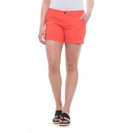 Burton Mid Shorts - Stretch Cotton (For Women) in Hot Coral - Closeouts