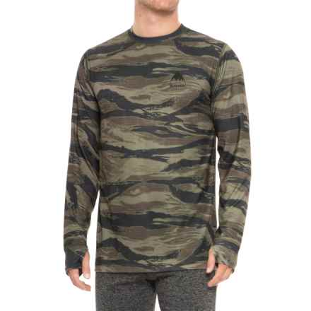 Burton Midweight Base Layer Crew Top - UPF 50+, Long Sleeve (For Men) in Olive Green Worn Tiger - Closeouts