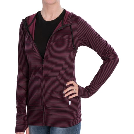 Burton Player Hoodie- Full Zip (For Women) in True Black/Sanria Stripe