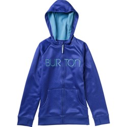 Burton Scoop Fleece Hoodie Sweatshirt - Full Zip (For Girls) in Purple Sage/Pinkstripe Plaid