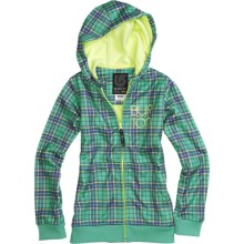 Burton Scoop Fleece Hoodie Sweatshirt - Full Zip (For Girls) in Paradise Punkster Plaid - Closeouts