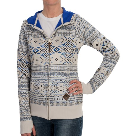 Burton Scoop Hoodie Sweatshirt - Full Zip (For Women) in Canvas Pixelated Fair Isle