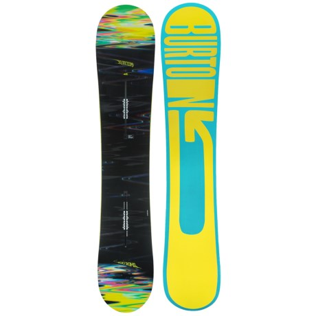 Burton Sherlock Snowboard in 160 Black Multi/Blue Yellow Logo