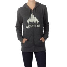 Burton Stamped Mountain Hoodie - Full-Zip (For Women) in True Black Heather - Closeouts
