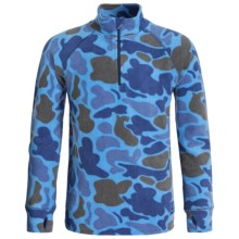 Burton Stretch Fleece Base Layer Top - Zip Neck (For Little and Big Kids) in Blu Steel/Dark Hunter Camo - Closeouts