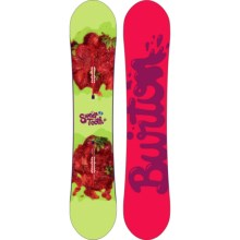 Burton Sweet Tooth Snowboard (For Women) in 148 Green/Strawberries/Pink/Purple Logo Bottom - 2nds