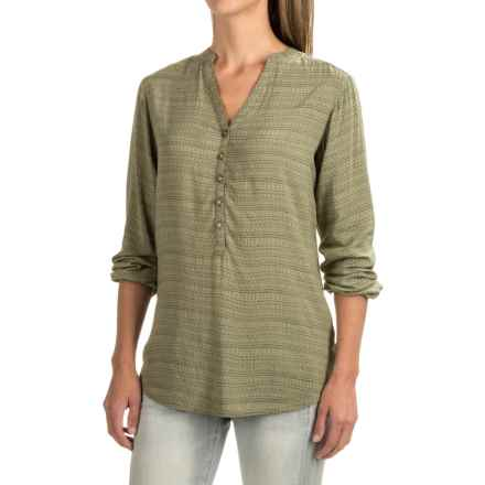 Burton Waterbury Woven Henley Shirt - Long Sleeve (For Women) in Vetiver Hatch Print - Closeouts