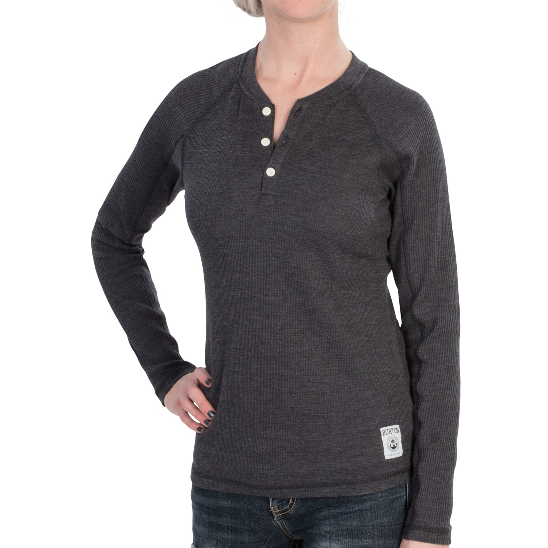 Burton winhall henley shirt long sleeve for women for Black long sleeve henley shirt