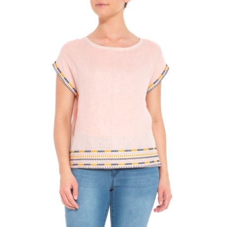 Image of Button-Back Embroidered Shirt - Short Sleeve (For Women)