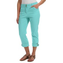 Button-Cuff Ankle Pants (For Women) in Aqua - 2nds