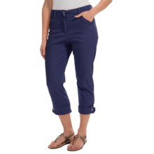 Button-Cuff Ankle Pants (For Women) in Navy - 2nds
