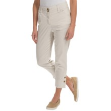 Button-Cuff Ankle Pants (For Women) in Tan/White Stripe - 2nds