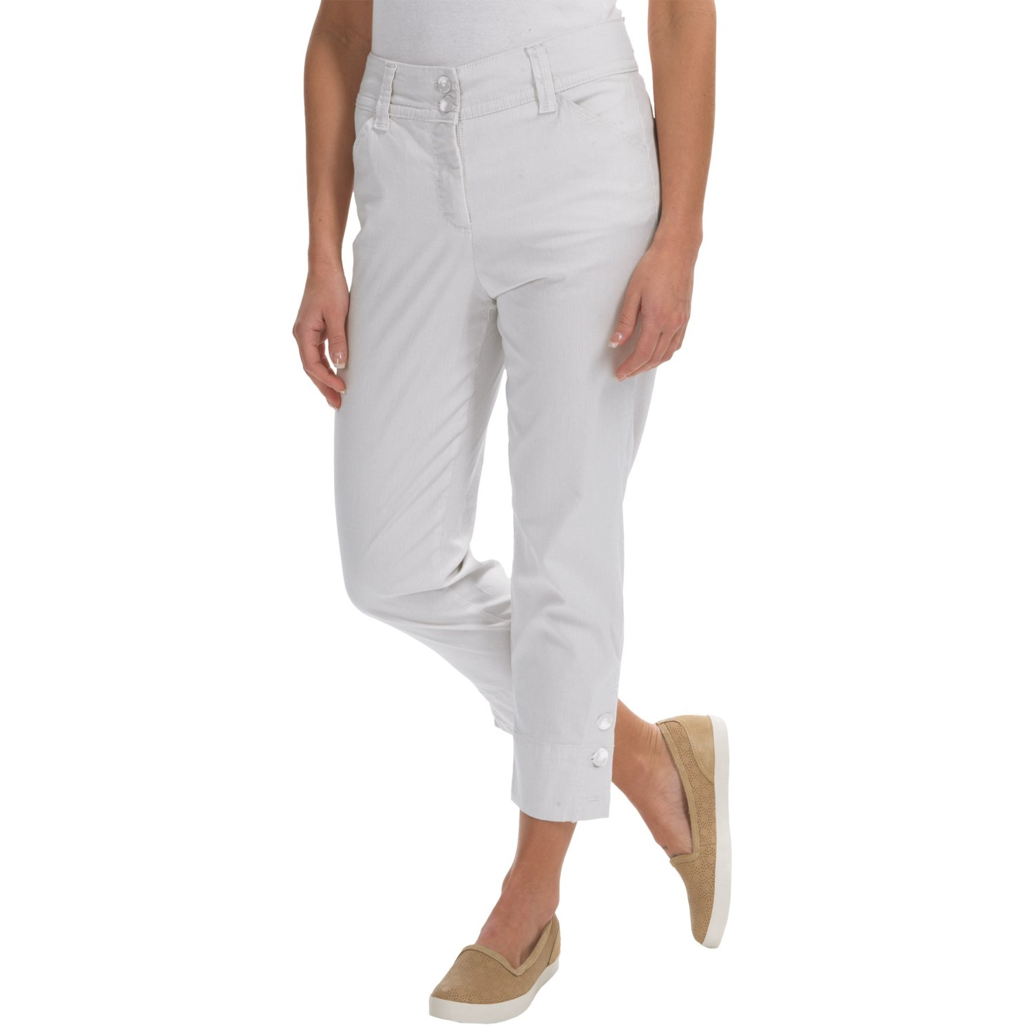 Button-Cuff Ankle Pants (For Women) in White ...