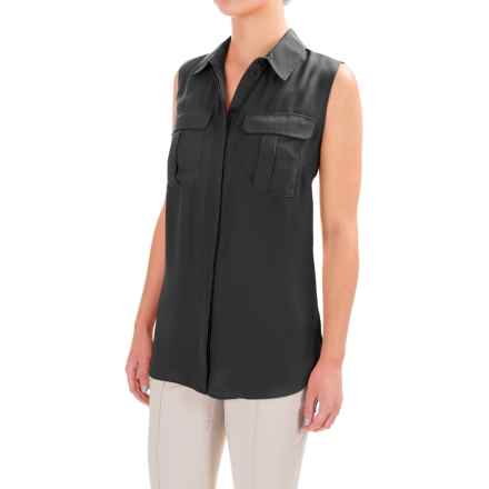 Button-Front Crepe Shirt - Sleeveless (For Women) in Black - 2nds
