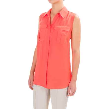 Button-Front Crepe Shirt - Sleeveless (For Women) in Coral - 2nds