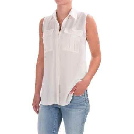 Button-Front Crepe Shirt - Sleeveless (For Women) in Ivory - 2nds