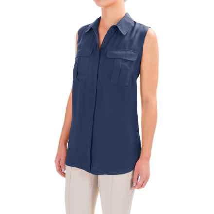 Button-Front Crepe Shirt - Sleeveless (For Women) in Navy - 2nds