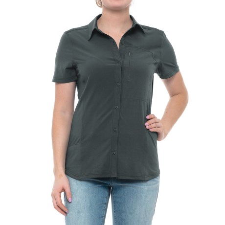 Button-Front Knit Back Shirt - Short Sleeve (For Women)