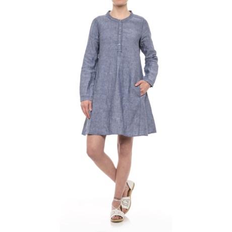 Button-Front Linen Dress - Long Sleeve (For Women)