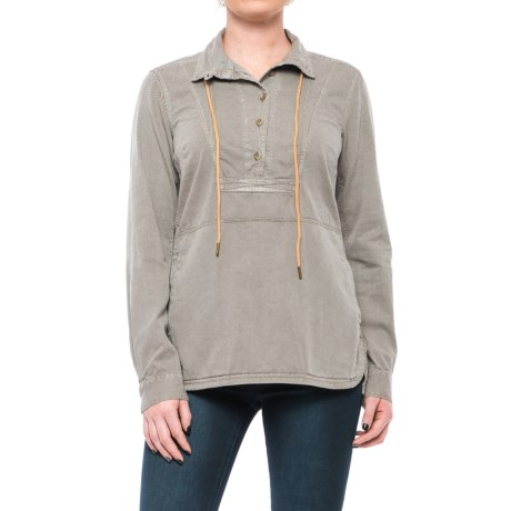 Button-Neck Drawstring Jacket (For Women) in Grey