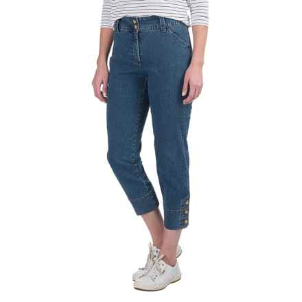 Button-Trimmed Denim Capris (For Women) in Blue - 2nds