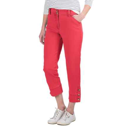 Button-Trimmed Denim Capris (For Women) in Coral - 2nds