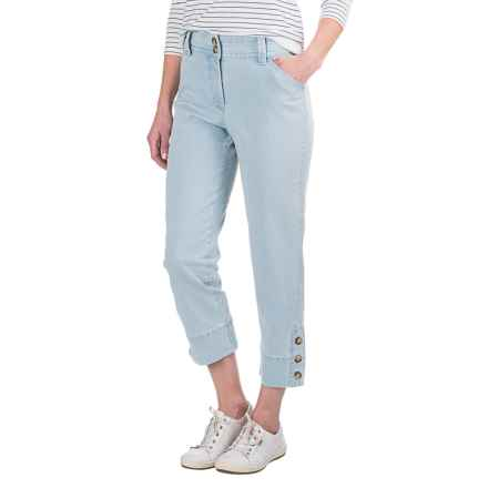 Button-Trimmed Denim Capris (For Women) in Light Blue - 2nds