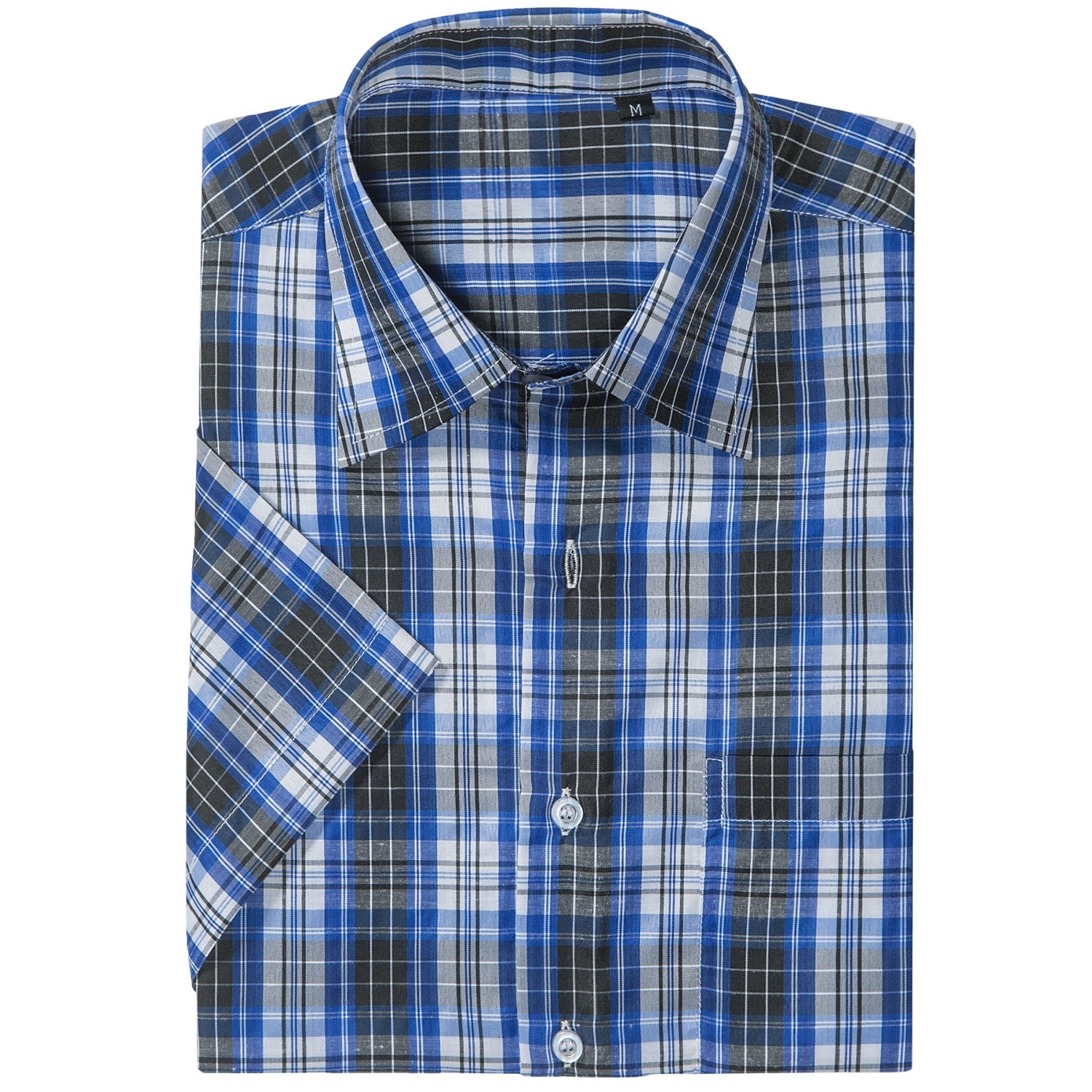 Button up plaid shirt short sleeve for men save 60 for Royal blue plaid shirt mens