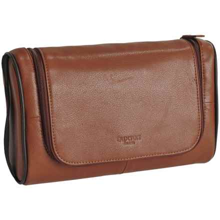 Buxton Addison U-Zip Hanging Travel Kit - Leather (For Men) in Cognac - Closeouts