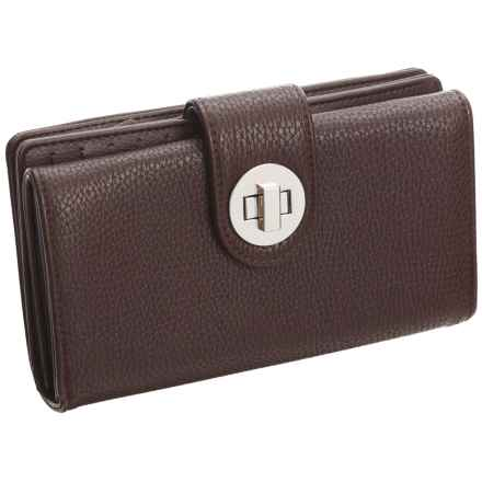 Buxton Collette Super Wallet - Vegan Leather (For Women) in Brown - Closeouts
