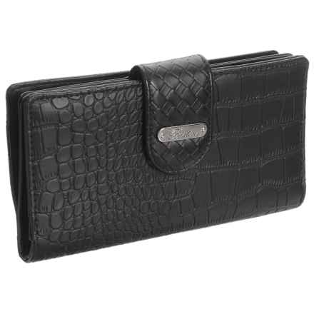 Buxton Everglades Croco Super Wallet (For Women) in Black - Closeouts