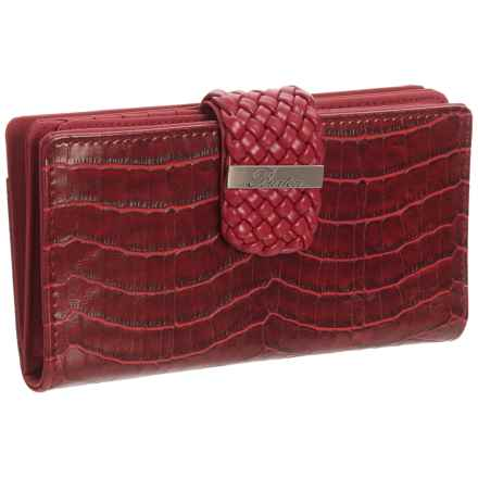 Buxton Everglades Croco Super Wallet (For Women) in Red - Closeouts