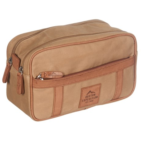 Buxton Expedition Double Zip Travel Kit in Tan
