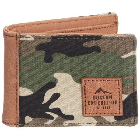 Buxton Expedition II Hungtington Gear RFID Front Pocket Slimfold Wallet (For Men) in Green/Camo