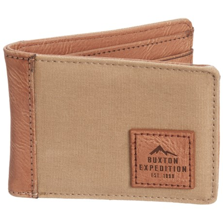 Buxton Expedition II Hungtington Gear RFID Front Pocket Slimfold Wallet (For Men) in Tan Brown
