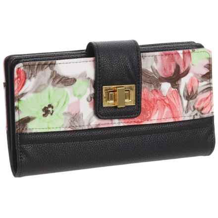 Buxton Floral Abstract Super Wallet - Vegan Leather (For Women) in Black - Closeouts
