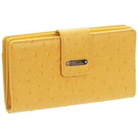 Buxton Ostrich Bright Super Wallet (For Women) in Yellow - Closeouts