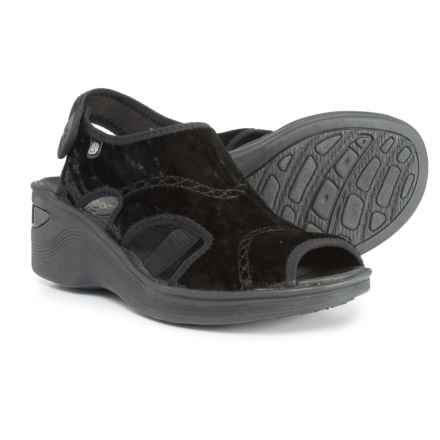 Bzees Drama Wedge Sandals (For Women) in Black Crushed Velvet - Closeouts